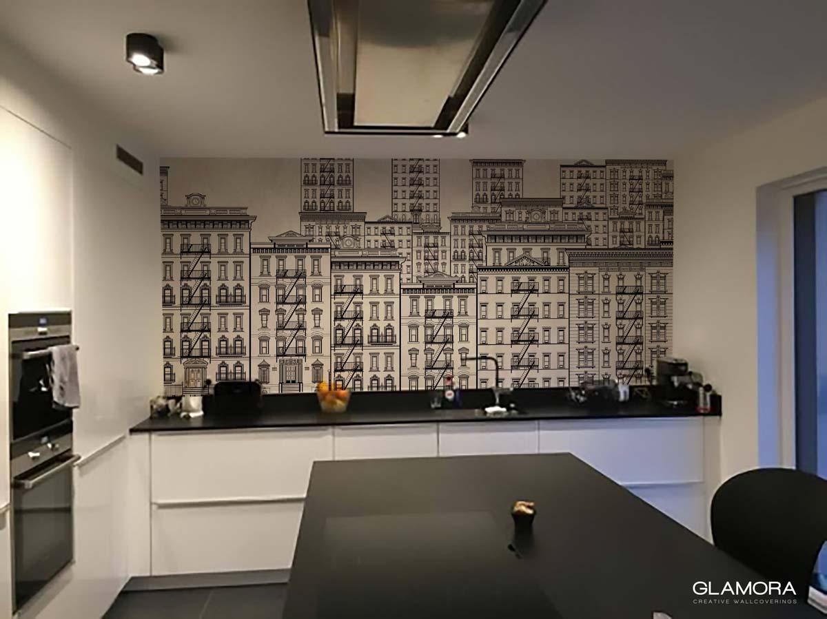 Glamora Tapete als Küchenrückwand