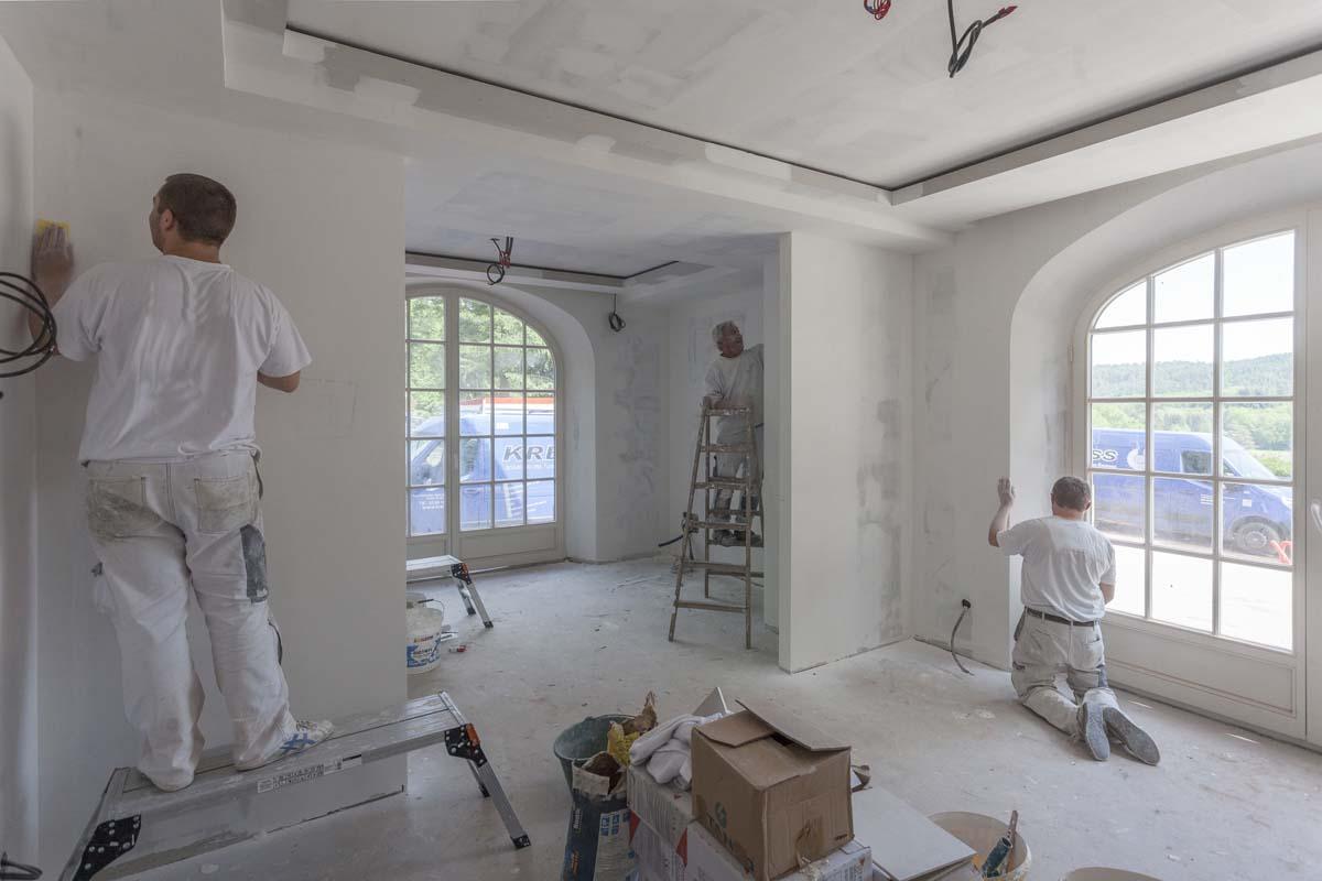 Préparation des murs avec enduit