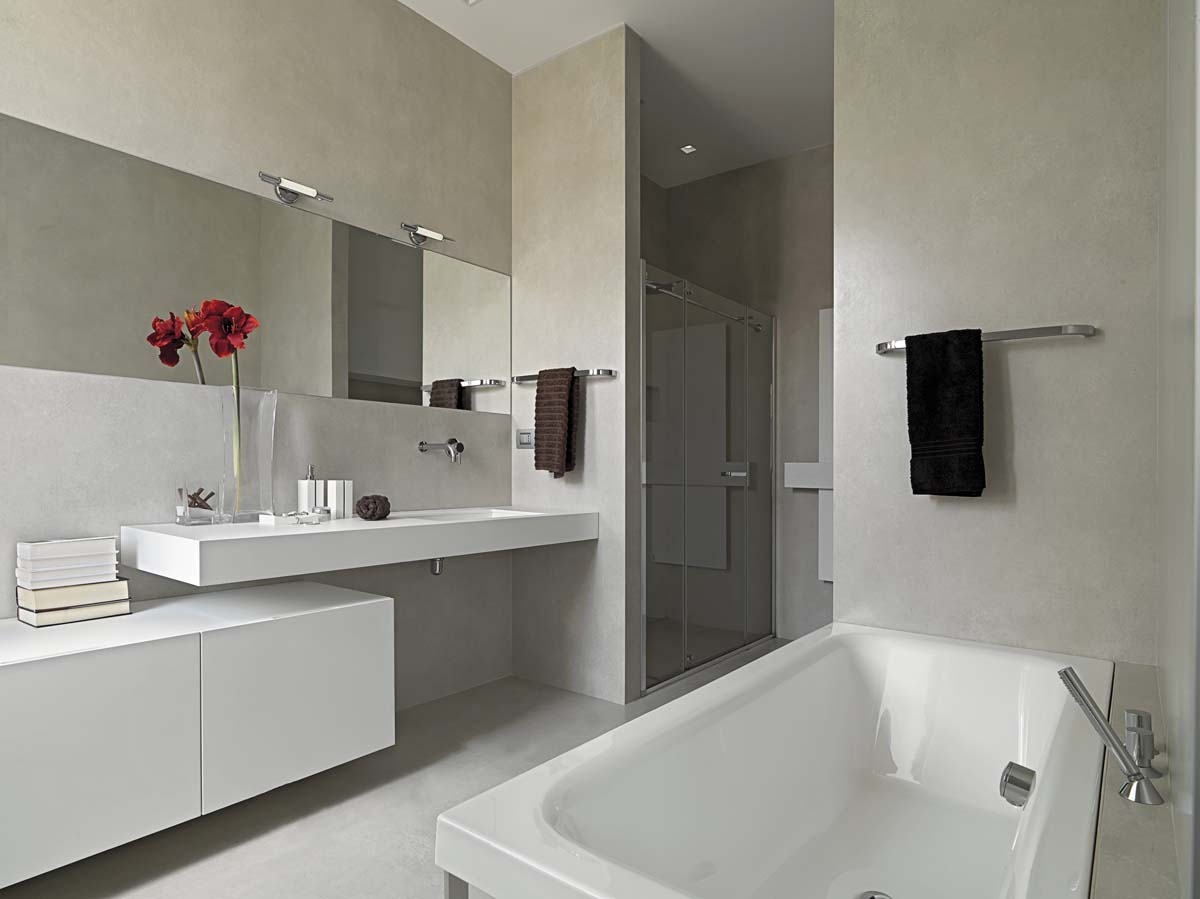 Salle de bains sans joints en béton ciré